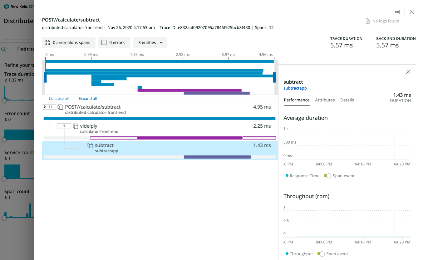 image from Observing Dapr applications with New Relic One